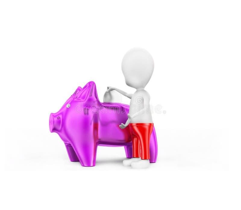 3d man presenting piggy bank concept stock illustration