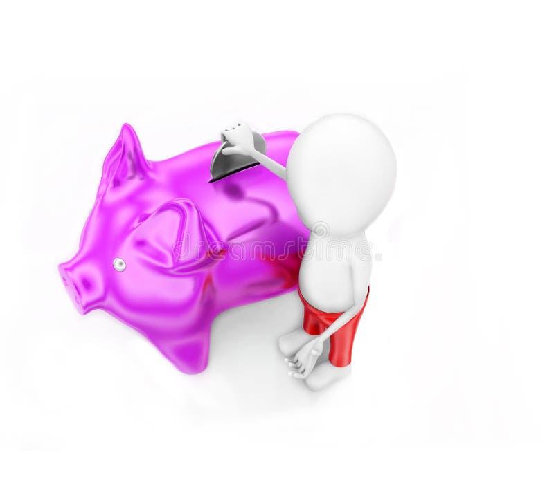 3d man presenting piggy bank concept vector illustration