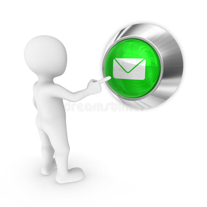 3d man presses the button with letter. stock illustration