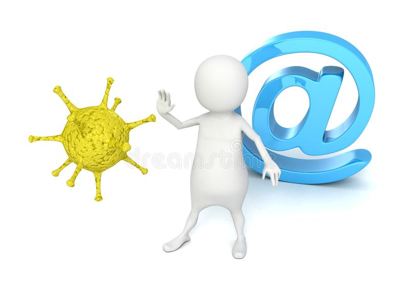 Download 3d Man Protect E-mail At Symbol From Computer Virus Stock Image - Image: 34324661