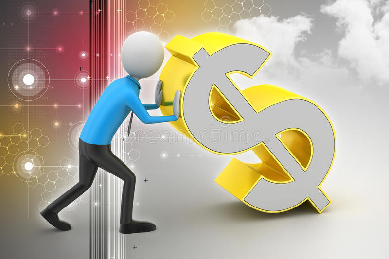 3d man pushing the dollar sign. In color background royalty free illustration
