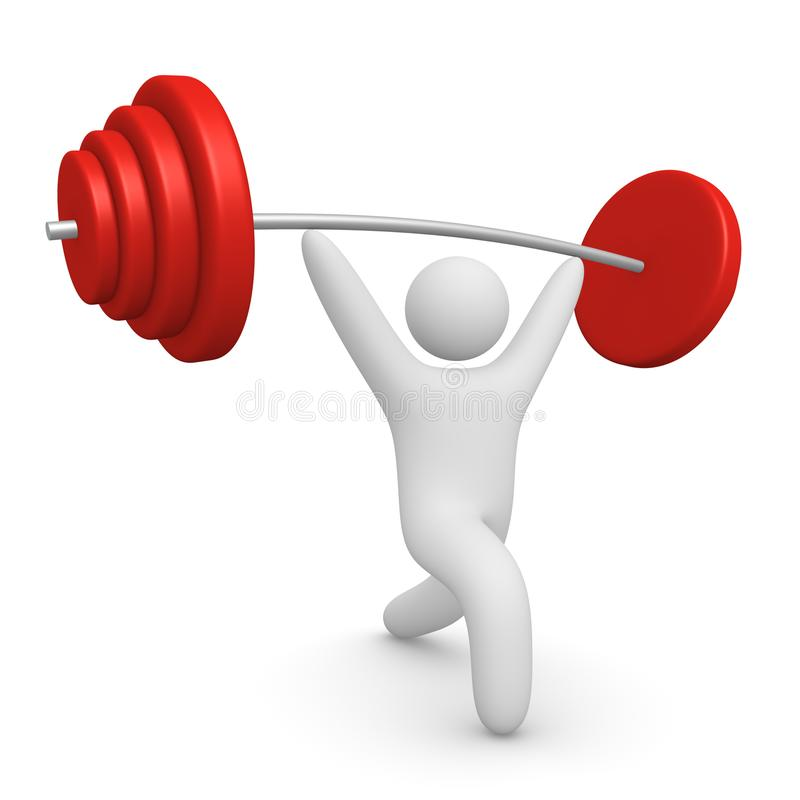 3d man pushing up the barbell stock illustration