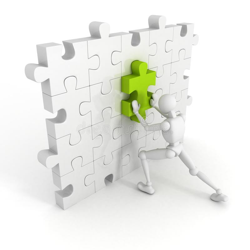 3d man put last green piece in jigsaw puzzle wall royalty free illustration