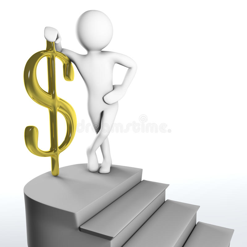 Download 3D Man Reached The Top Of The Stairs With Golden Dollar Sign Stock Illustration - Image: 37130014