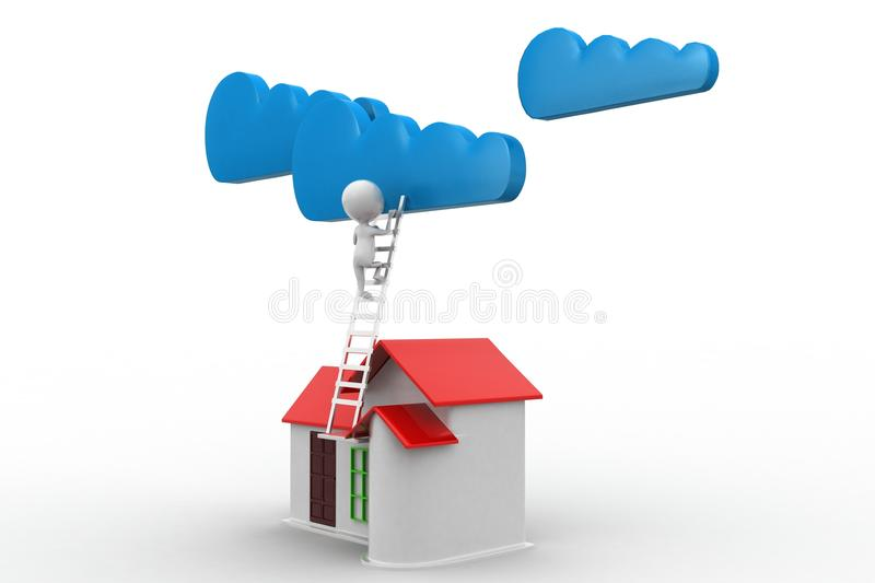 Download 3d Man Reaching Clouds From His House Stock Illustration    Illustration Of Lawn, Business