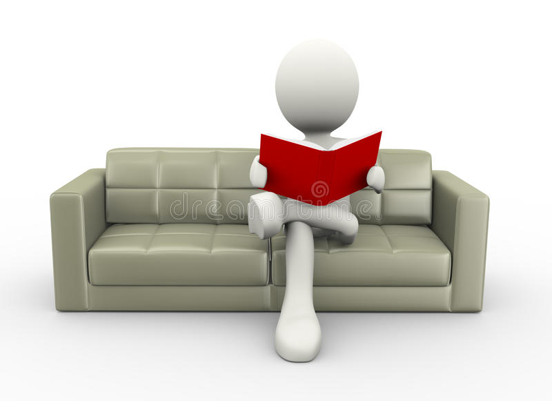 Download 3d Man Reading Book On Couch Stock Illustration   Illustration Of  Book, Relaxation: