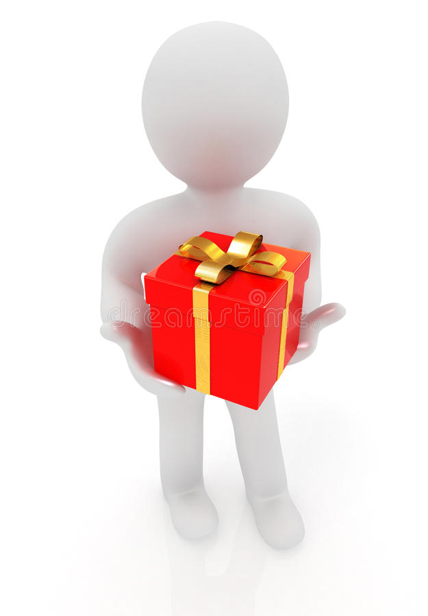 Download 3d Man And Red Gifts With Gold Ribbon Stock Illustration - Image: 34030799