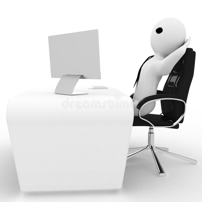 3d man relax in office on chair with LCD monitor screen on table illustration. Side view stock illustration