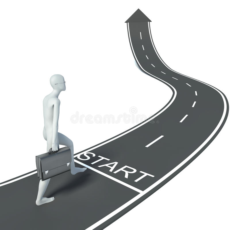 3d man and the road to successful business royalty free illustration