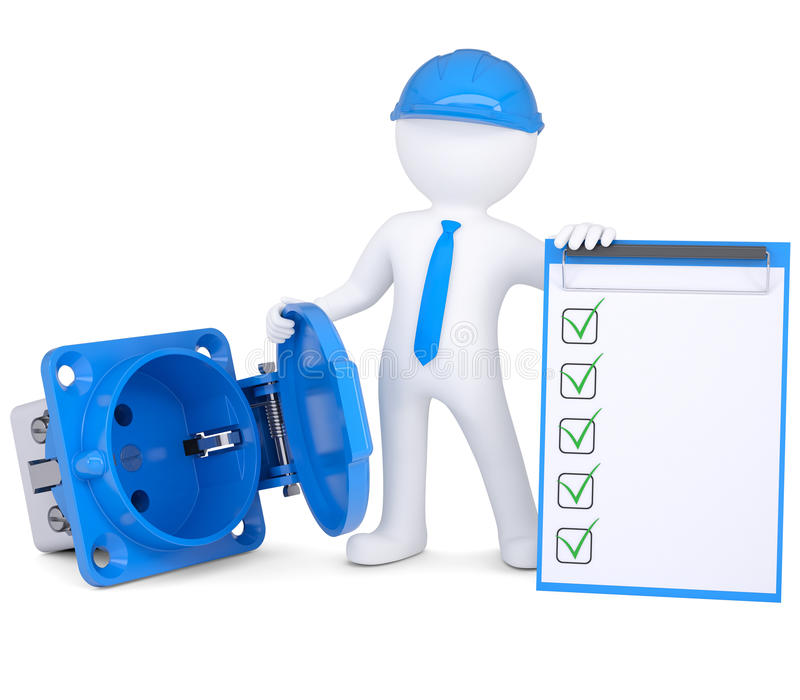 3d man with rosette and checklist stock illustration