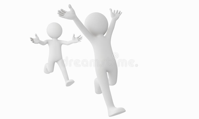 3d man run away from the other. Man royalty free illustration