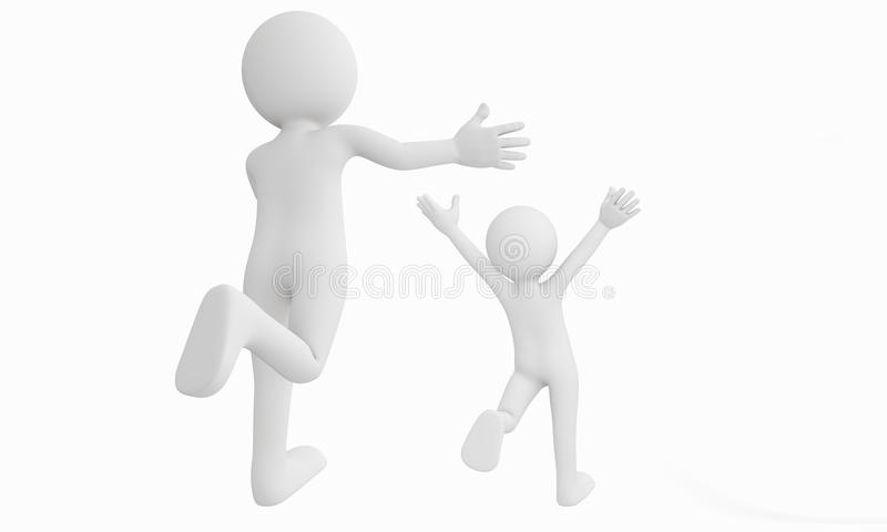 3d man run away from the other. Isolated with white background stock illustration