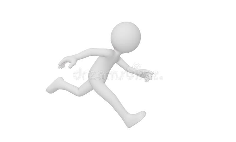 3d man run, Isolated on white background stock illustration
