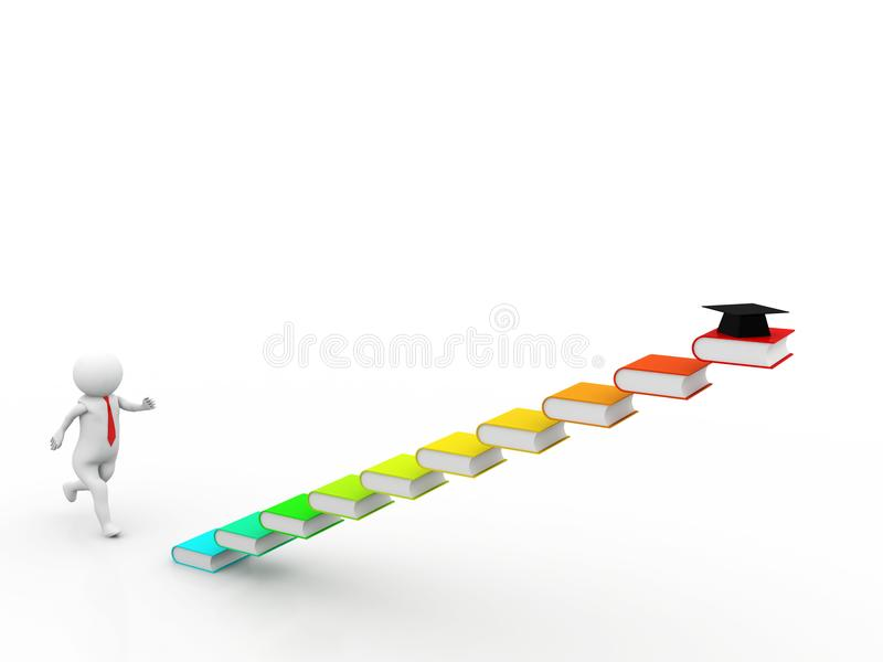 3d Man running on colorful book stairs on white background. 3D illustration stock illustration
