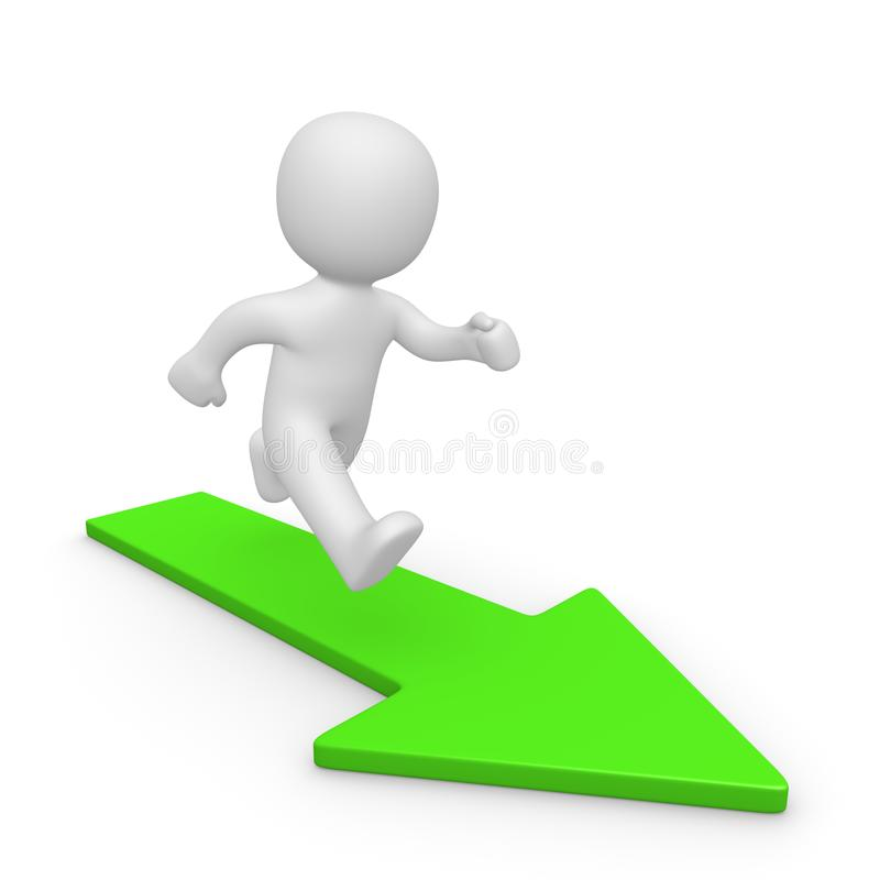 3d man running on green arrow stock images