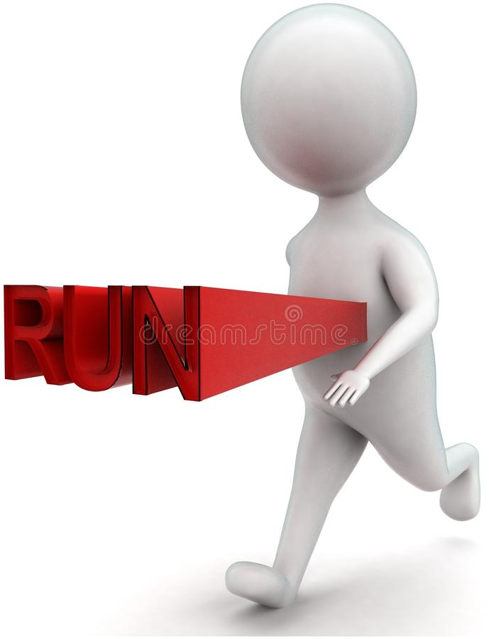 3d man running - run text projected from his body concept. In white isolated background - 3d rendering ,  side angle view royalty free illustration