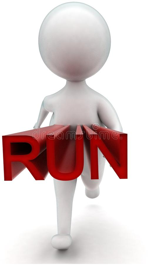 3d man running - run text projected from his body concept. In white isolated background - 3d rendering ,  front angle view royalty free illustration