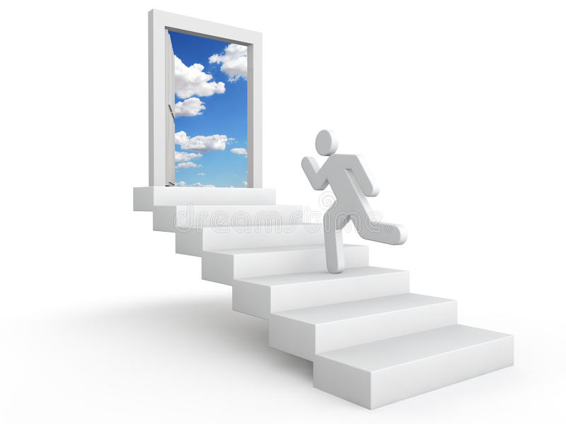 3d man running on stairs towards open door in the sky royalty free stock photos