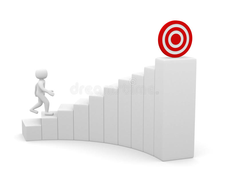 3d man running to the target on top of the stairs stock illustration