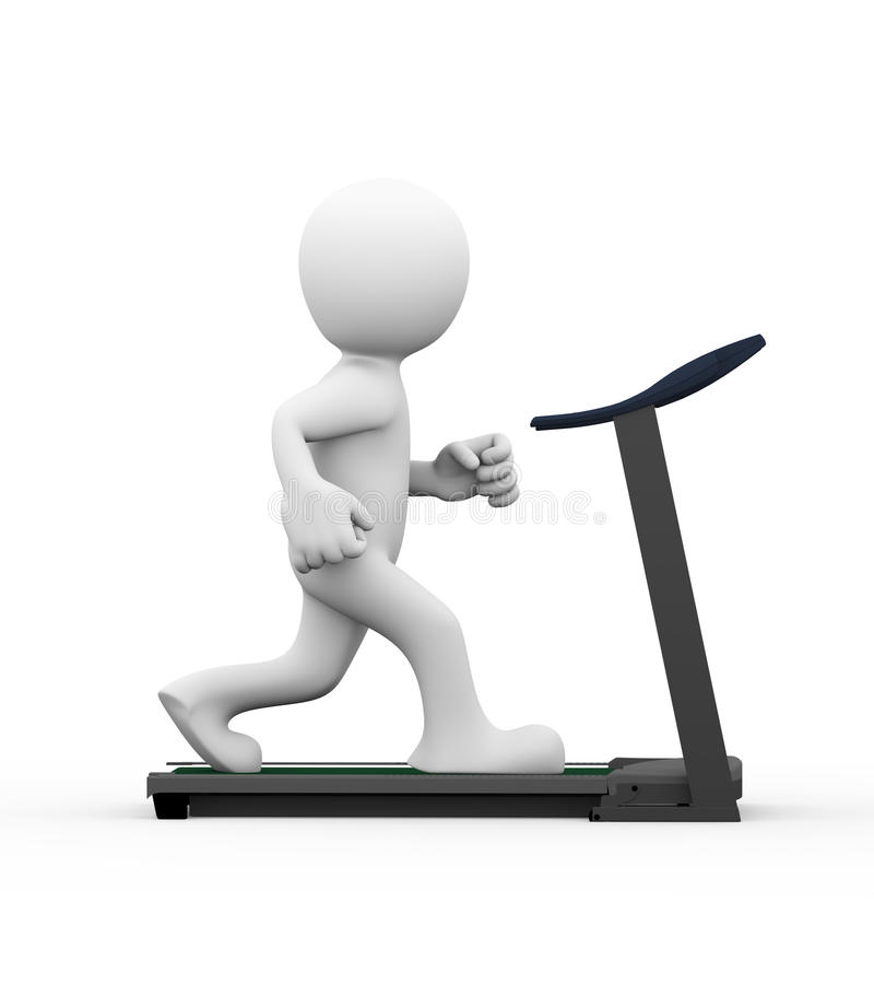 3d man running on treadmill. 3d rendering of side view of man exercising and running on treadmill. 3d white person people man vector illustration
