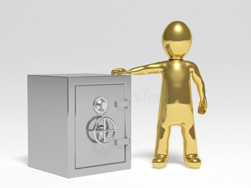 3D man with safe stock illustration