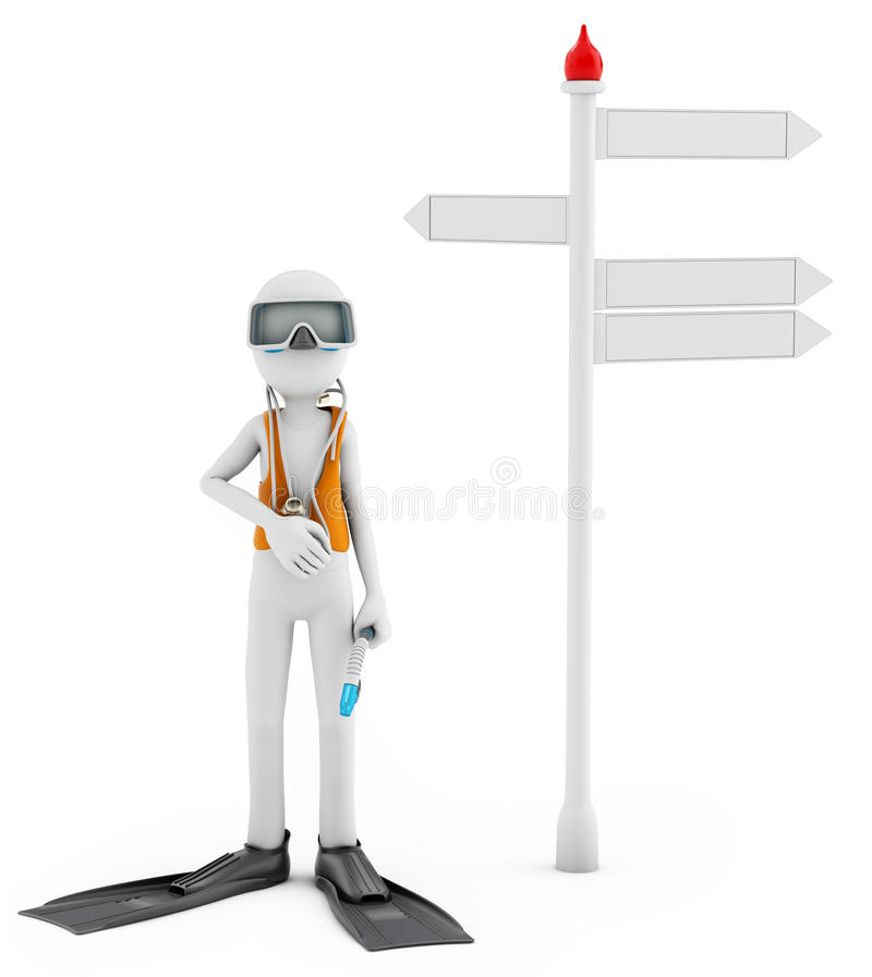 3d man with scuba gear near signpost. On white background stock illustration