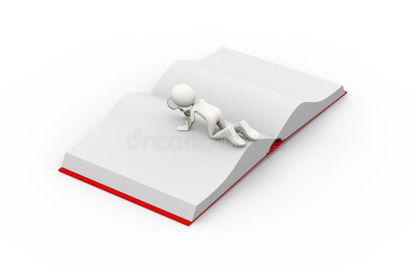 3d man searching open book with magnifier royalty free illustration