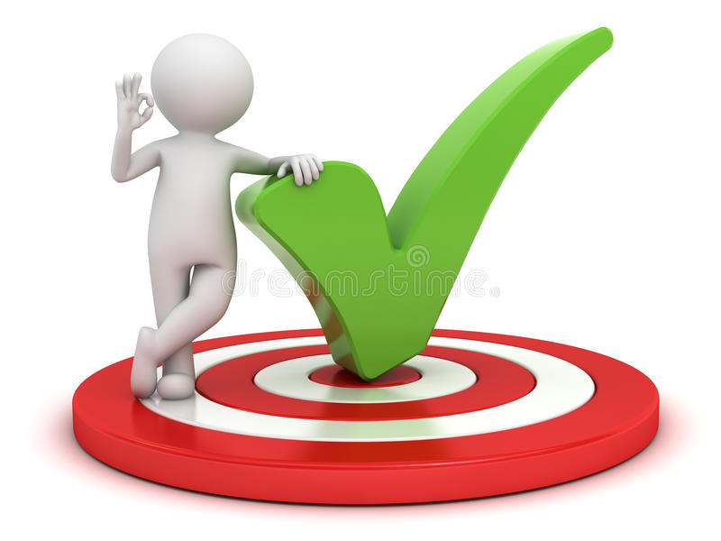 3d man showing okay hand gesture with green check mark standing on dartboard over white. Background stock illustration