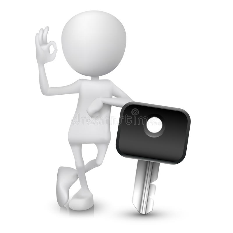 3d man showing okay hand sign with a car key vector illustration