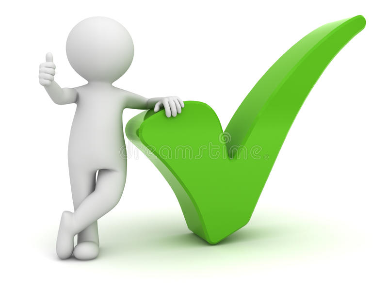 3d man showing thumbs up with green check mark over white vector illustration