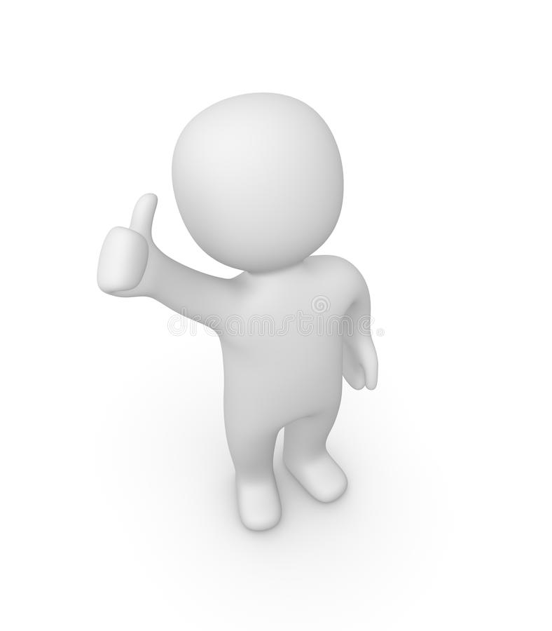 3d man showing thumbs up sign royalty free stock image