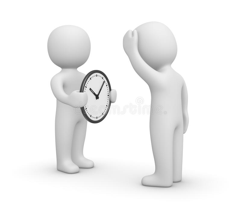 3d man showing watch to another person. stock illustration