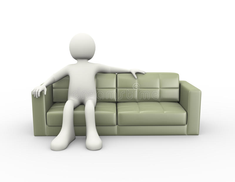 Download 3d Man Sitting On Couch Stock Illustration. Illustration Of Couch    59520839