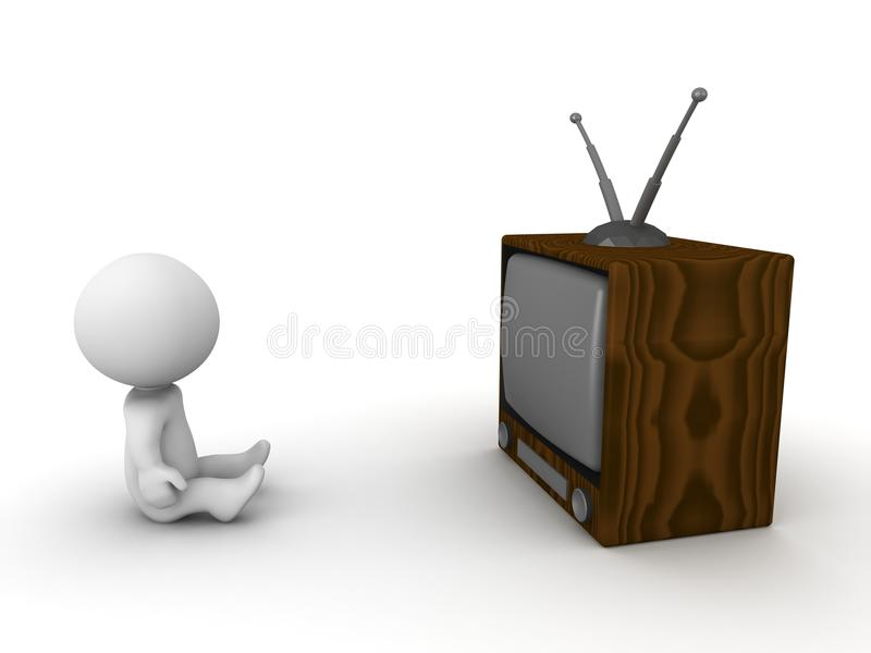 3D Man Sitting In Front Of Retro TV Royalty Free Stock Photography