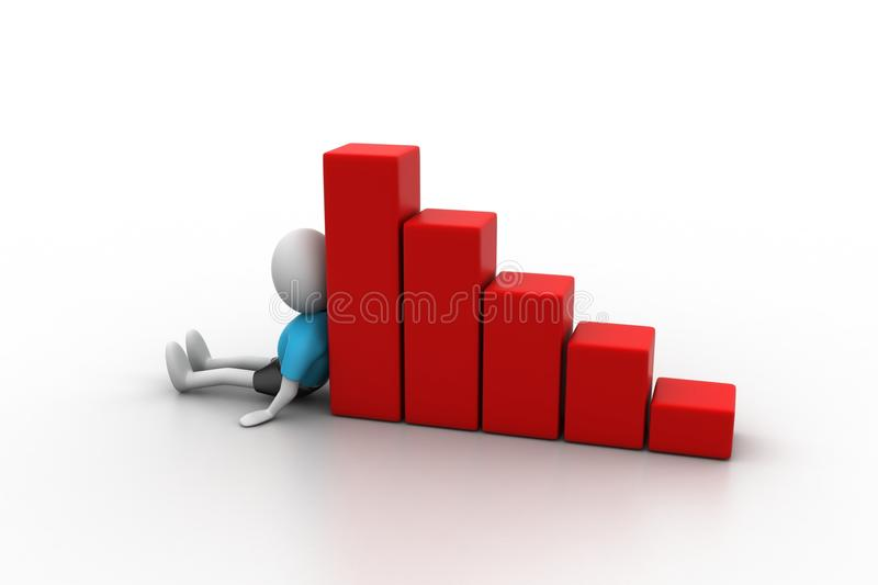 Download 3d Man Sitting Near The Bar Graph Stock Photo - Image: 36971180
