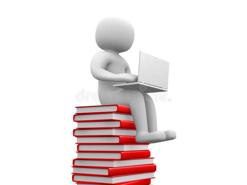 3d man sitting on a pile of books working at his lapop. stock illustration