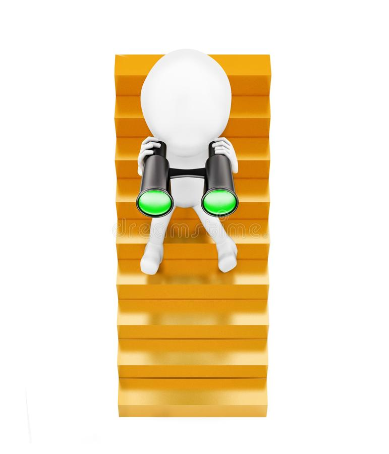 3d man sitting on stairs and looking through binocular concept royalty free illustration