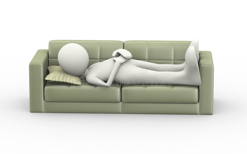 Download 3d Man Sleeping On Couch Stock Illustration. Illustration Of  Figure   60259949