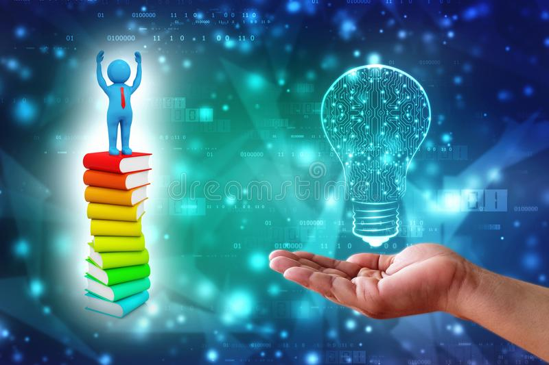 3d Man standing above the Books in digital background. 3d Man standing above the Books, Education and Learning Concept. 3d render stock images