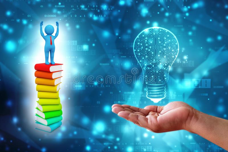 3d Man standing above the Books in digital background. 3d Man standing above the Books, Education and Learning Concept. 3d render stock image