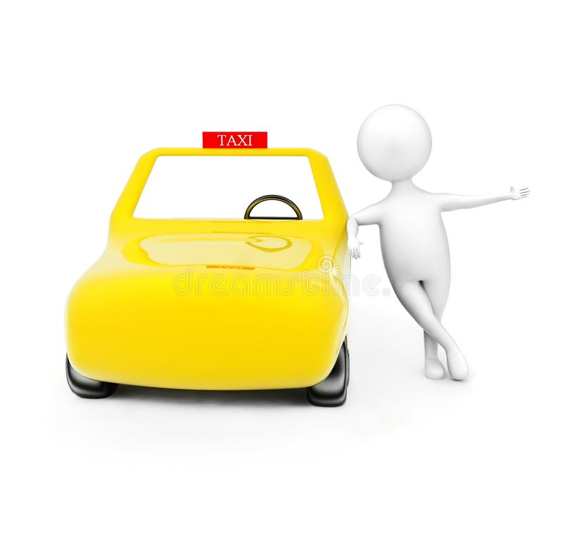 3d man standing near taxi - cab concept. In white isolated background - 3d rendering , front angle view vector illustration