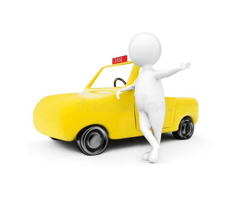 3d man standing near taxi - cab concept. In white isolated background - 3d rendering , sideangle view vector illustration