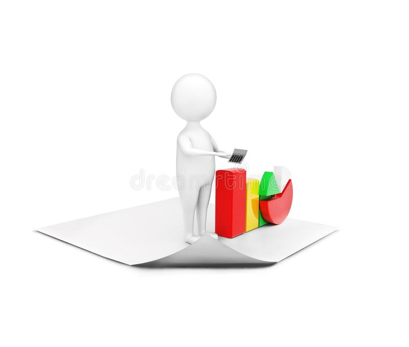 3d man standing on plain paper presenting pie chart and bar graph concept. In white isolated background - 3d rendering , side angle view stock illustration