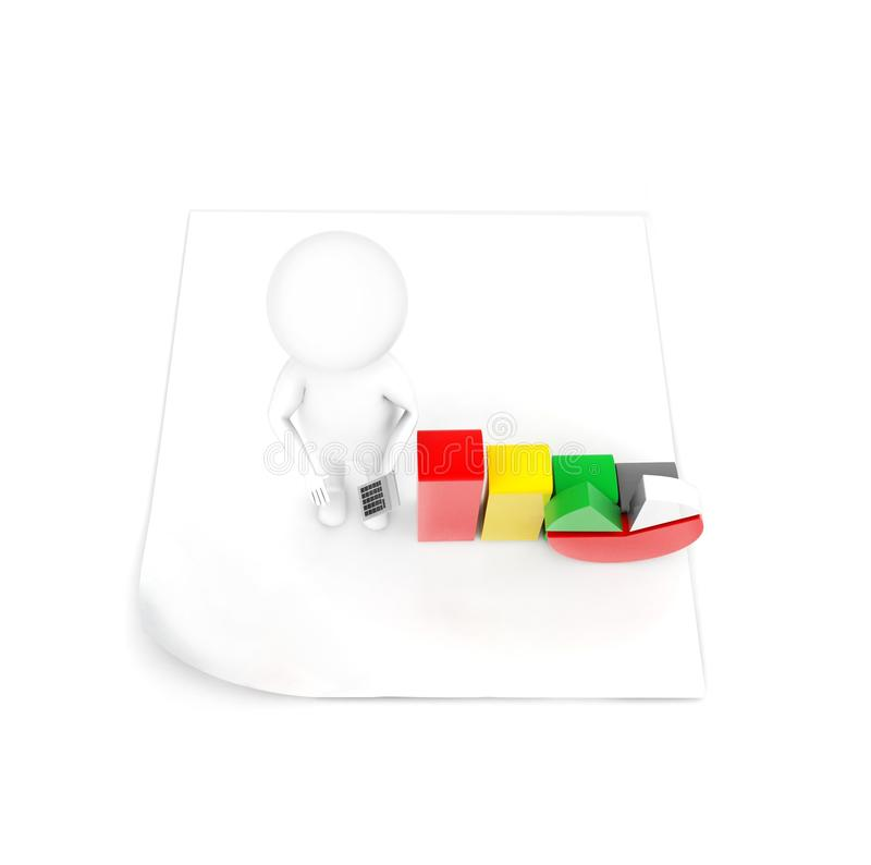 3d man standing on plain paper presenting pie chart and bar graph concept. In white isolated background - 3d rendering , top angle view royalty free illustration
