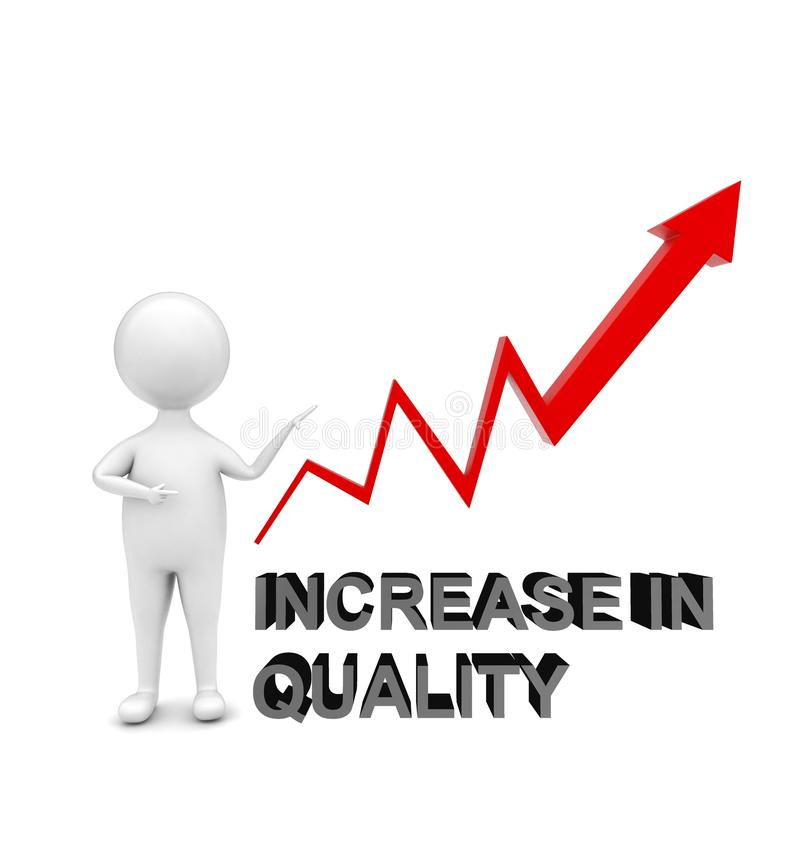 3d man standing and pointing is hand towards a upward arrow graph _ increase in quality concept royalty free illustration