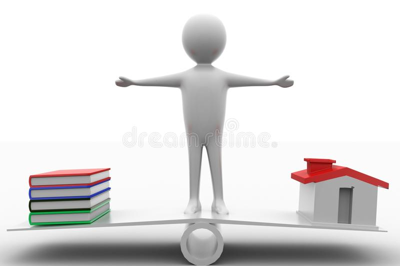 Download 3d Man Standing In See Saw With Books And Houses Stock Illustration - Image: 39745477
