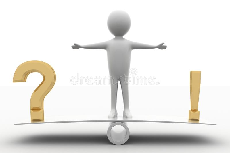Download 3d Man Standing In See Saw With A Question Mark Stock Illustration - Image: 39743993