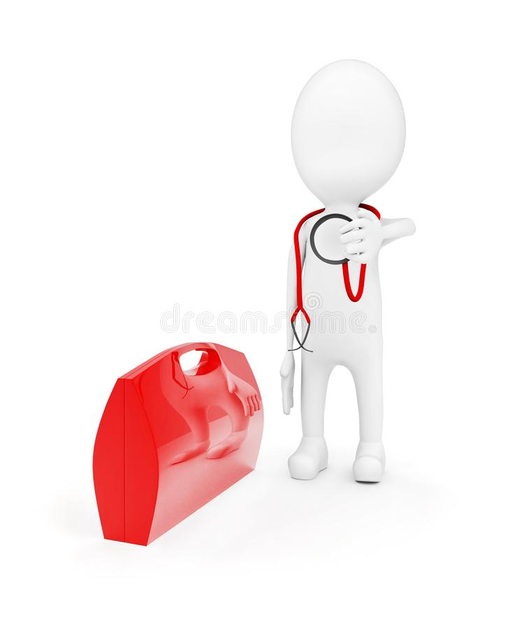 3d man with stethoscope standing near to red briefcase concept stock illustration