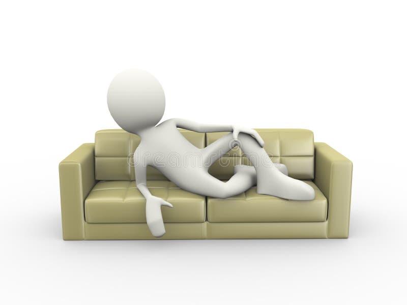 Download 3d Man Stylish Sitting On Sofa Stock Illustration   Illustration  Of Couch, Luxury: