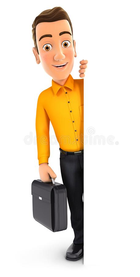 3d man with suitcase behind blank wall vector illustration